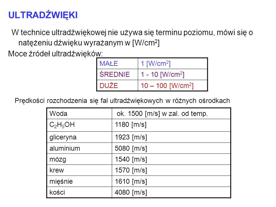 ULTRADŹWIĘKI W technice ultradźwiękowej nie używa się terminu poziomu, mówi się o natężeniu dźwięku wyrażanym w [W/cm2]